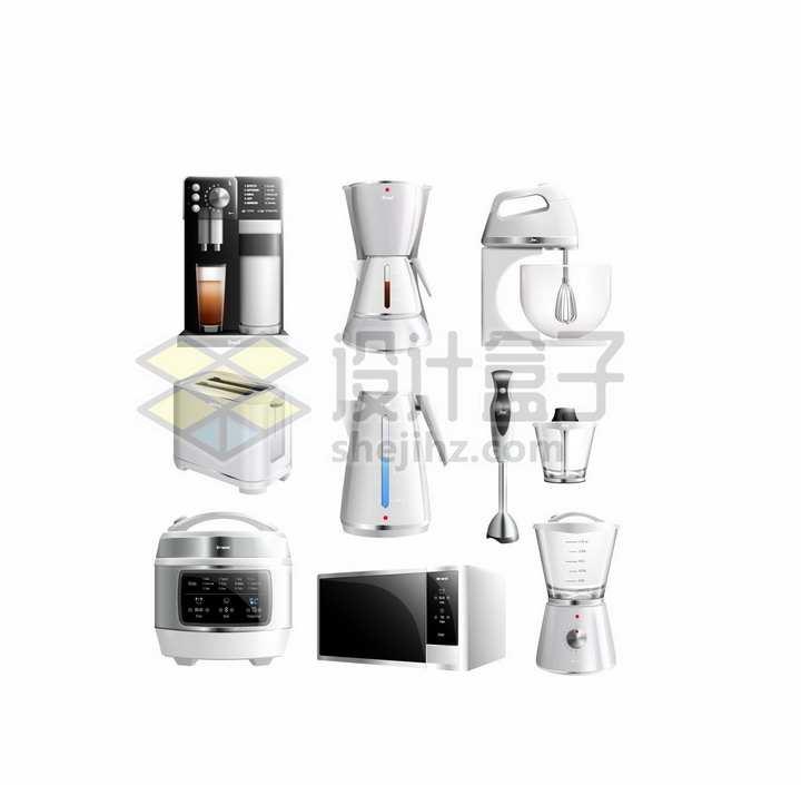 咖啡机搅拌机面包机电水壶电饭锅微波炉等厨房小电器png图片素材