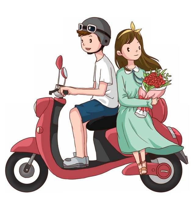 骑电动车带女朋友兜风的卡通男孩情侣png图片素材