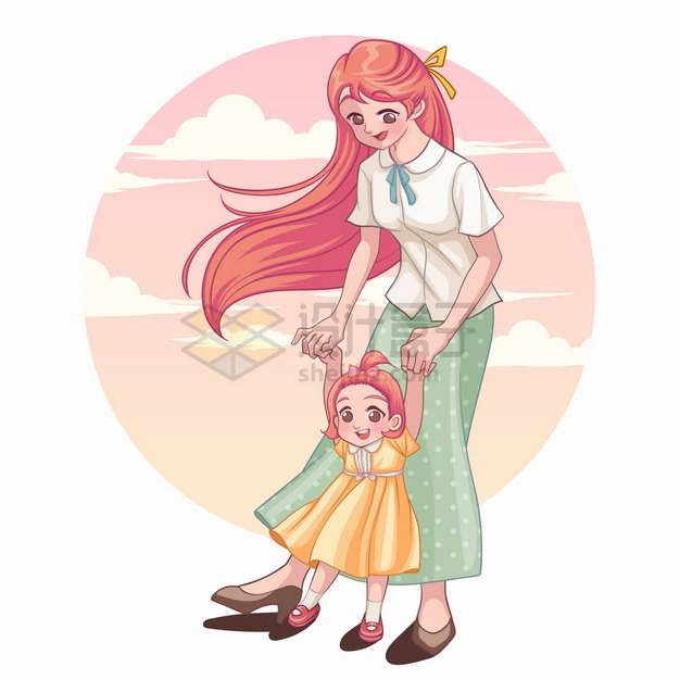 妈妈正在帮助女儿学走路亲子关系母亲节卡通插画png图片素材