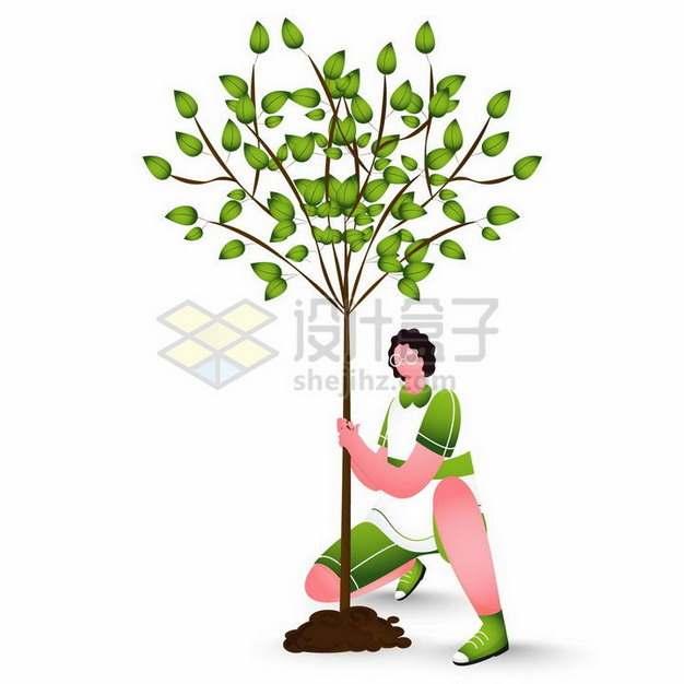 扁平插画风格种树的年轻人植树节png图片免抠矢量素材