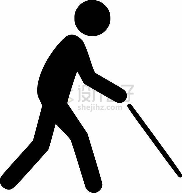 拿着盲丈导盲棍的盲人标志png图片素材