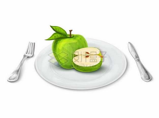 西餐盘子中切开的青苹果和刀叉png图片免抠矢量素材