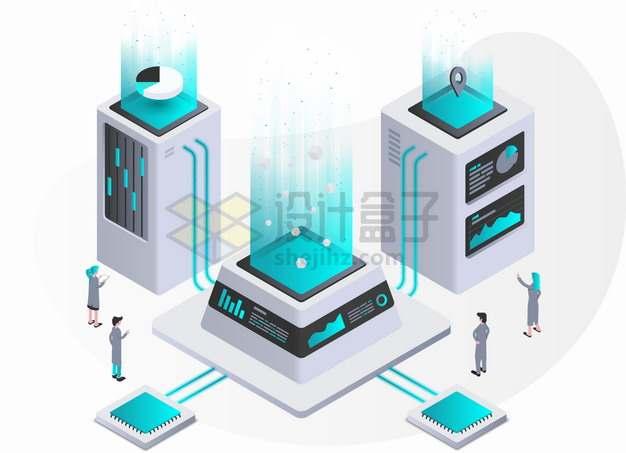 2.5D风格云计算服务器在商业数据领域的应用png图片素材