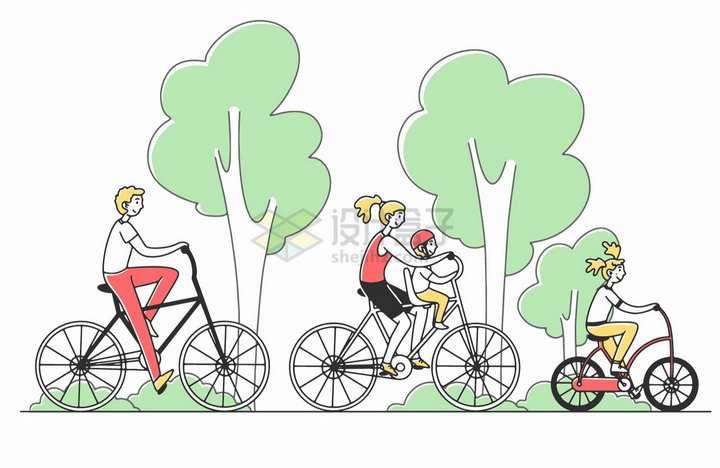 春天一家人骑自行车春游手绘插画png图片素材