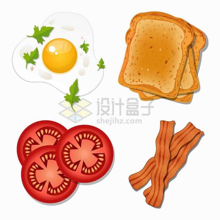 煎蛋荷包蛋面包西红柿培根等美味早餐美食png图片素材
