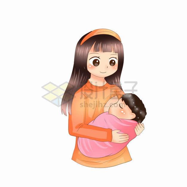 抱着宝宝喂奶的卡通妈妈全国母乳喂养宣传日419876png图片素材