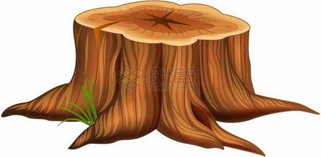 卡通树桩大树根png免抠图片素材