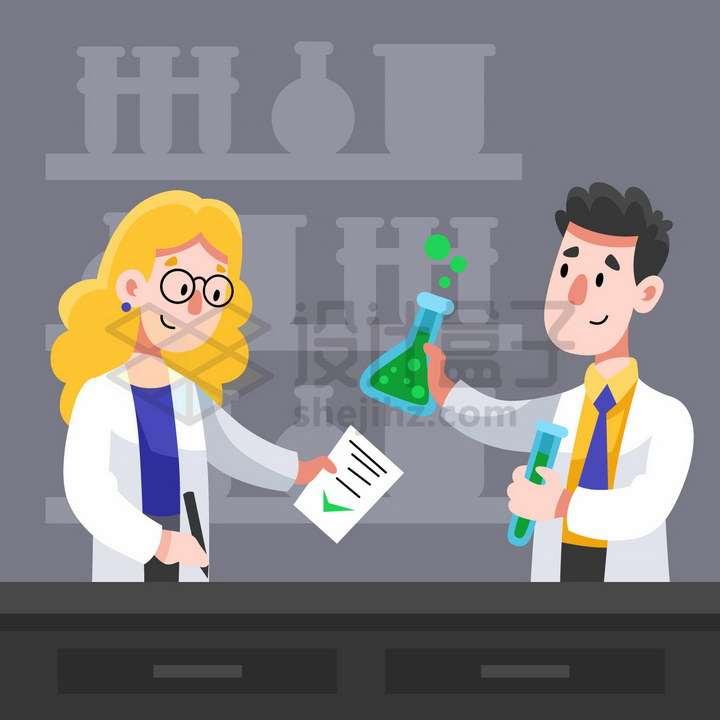 身穿白大褂对的2个卡通医生正在做实验png图片免抠矢量素材