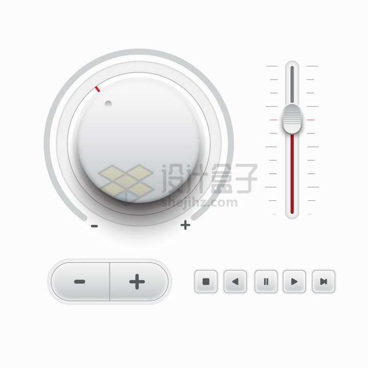 白色旋钮开关按钮3D立体音乐调节旋钮播放按钮png图片素材