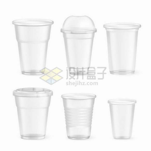 6款半透明的一次性塑料杯子png图片免抠矢量素材