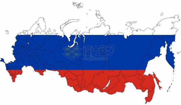 印有国旗图案的俄罗斯地图7646739png图片素材