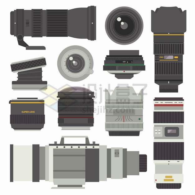 各种数码相机单反相机长焦镜头扁平插画png图片素材