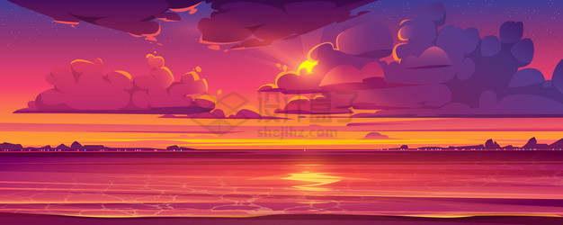 躲在云层后的太阳和大海夕阳日出卡通风景png图片素材