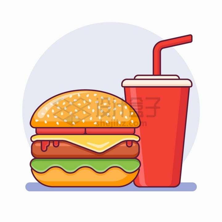 MBE风格汉堡包和可乐饮料美味西餐美食png图片免抠矢量素材
