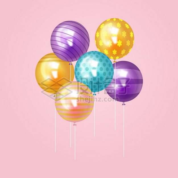 飘着的条纹斑点彩色气球png图片免抠矢量素材