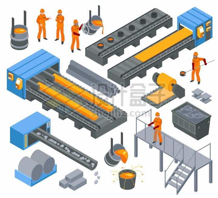炼钢厂钢铁厂冶金高炉铁水生产线png图片素材