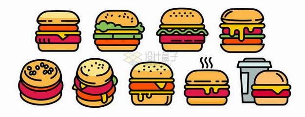 9款MBE风格汉堡包美味西餐手绘插画png图片素材