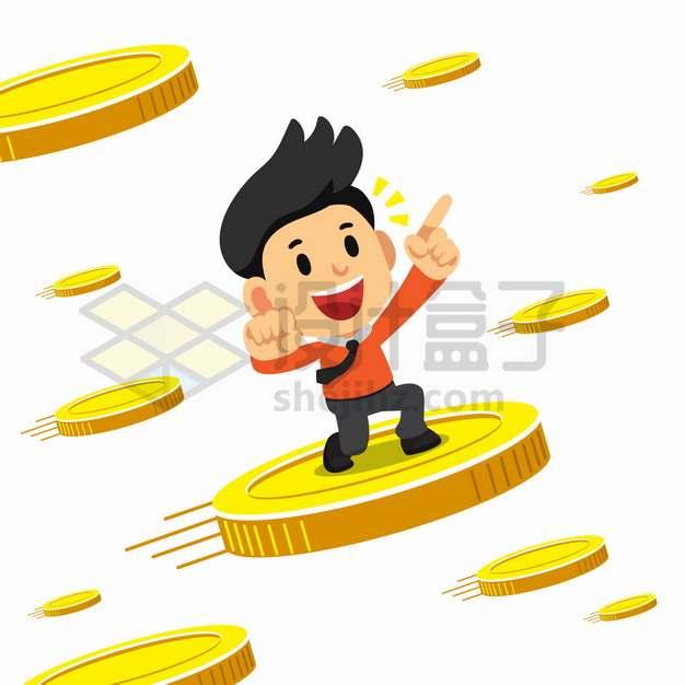 卡通商务人士站在飞行中的金币上png图片素材