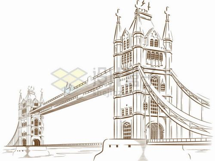 伦敦桥手绘素描铅笔画png图片免抠矢量素材