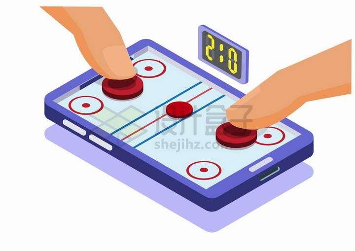 2.5D风格在手机上玩游戏双人游戏png图片免抠矢量素材