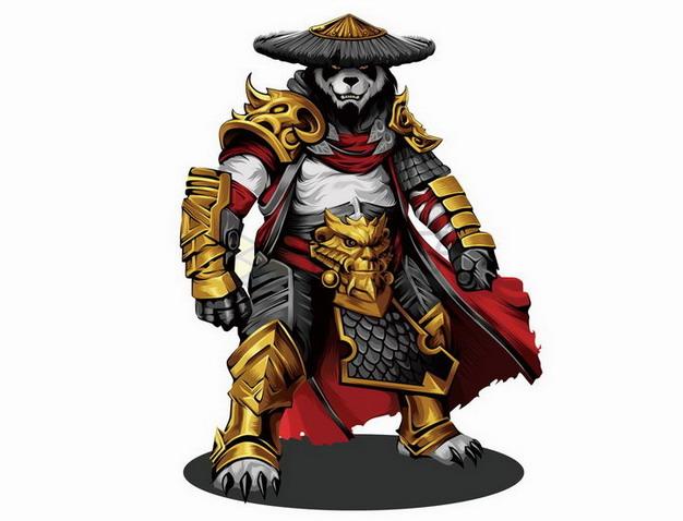 漫画风格身穿铠甲的大熊猫武士png图片免抠矢量素材 人物素材-第1张