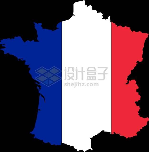 印有国旗图案的法国地图png图片素材