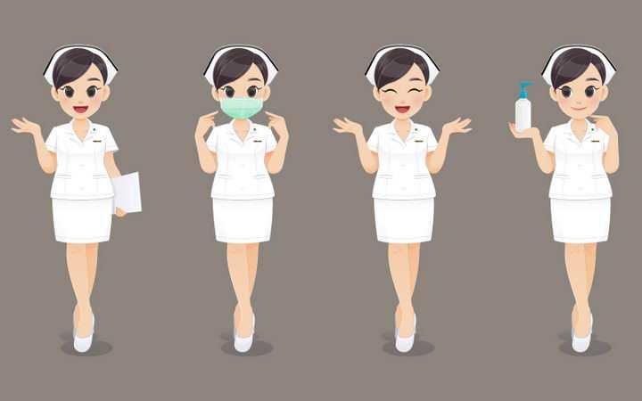 4款超可爱卡通医生护士造型戴口罩讲解等png图片免抠矢量素材