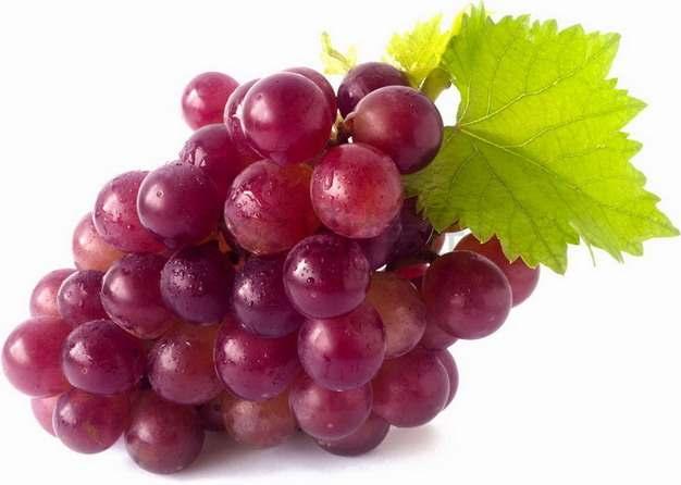 带叶子紫红色葡萄安山早红葡萄png图片素材