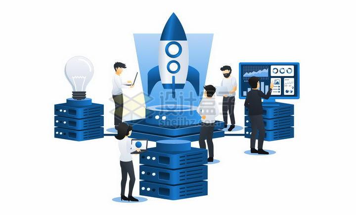 蓝色扁平插画风格在云服务器上研究火箭png图片免抠矢量素材 IT科技-第1张