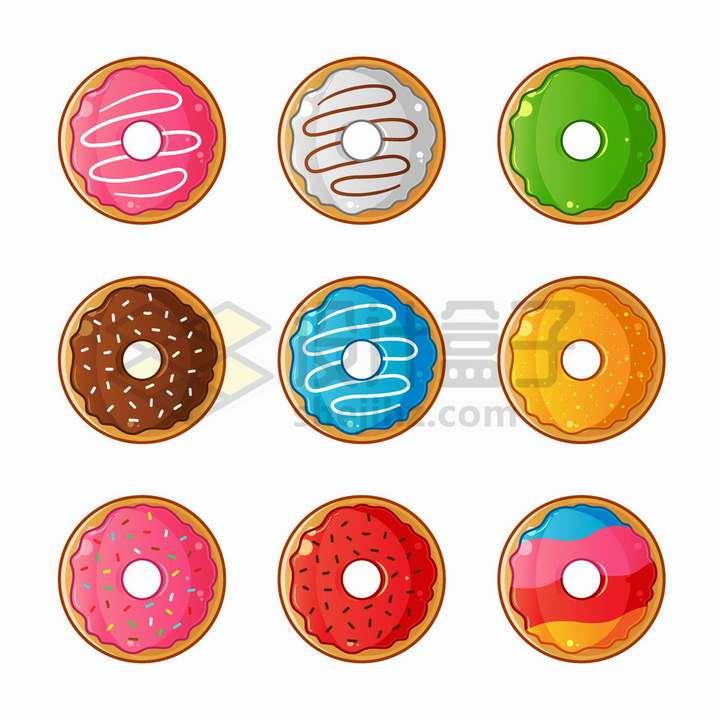 9款卡通彩色甜甜圈美味西餐美食png图片免抠矢量素材