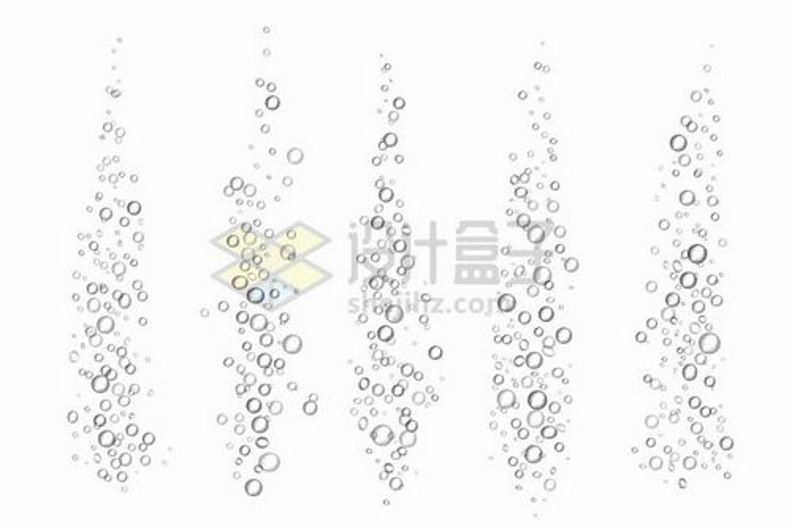 5款逼真的水中冒泡气泡png图片免抠矢量素材