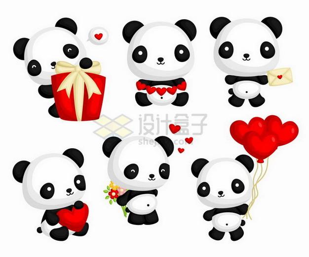 6款情人节卡通熊猫和红心心形png图片免抠矢量素材 生物自然-第1张