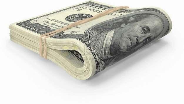 橡皮筋捆绑的一沓100美元钞票纸币png图片素材
