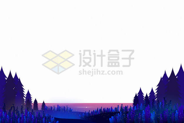 蓝紫色的森林和远处的大海风景剪影插画png图片素材