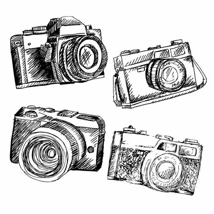 4款手绘涂鸦风格照相机单反相机png图片免抠矢量素材