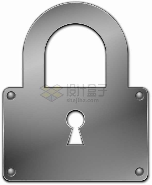 螺丝钉固定的灰色不锈钢金属挂锁图案png图片素材