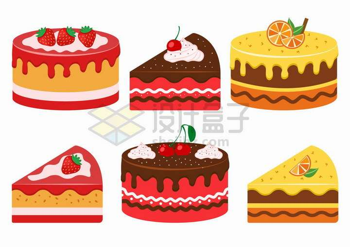 6款红色黄色的草莓樱桃橙子奶油蛋糕美味美食png图片免抠矢量素材