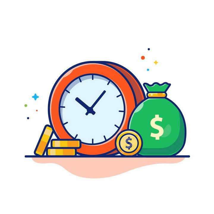 MBE风格时钟金币和钱袋子png图片免抠矢量素材