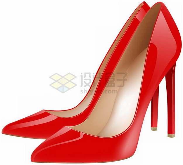 尖头款红色高跟鞋png图片素材