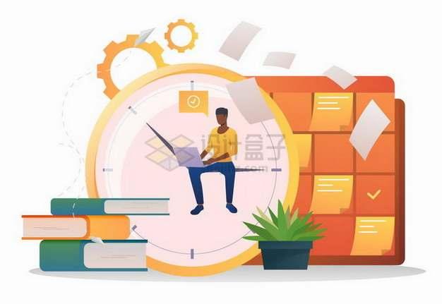 坐在时钟指针上的商务人士学习计划日程安排扁平插画png图片素材