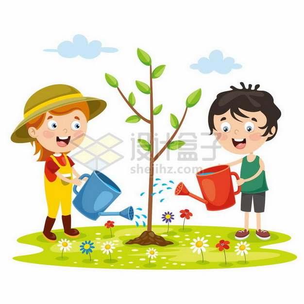 卡通小女孩小男孩正在植树造林浇水植树节png图片免抠矢量素材