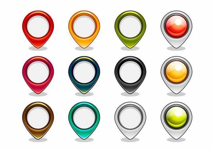 12款水晶风格的彩色定位标志图标png图片免抠矢量素材