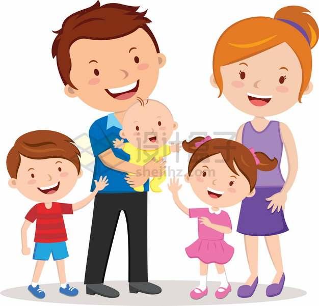 卡通一家五口三孩政策家庭国际家庭日png图片素材