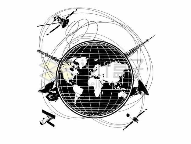 各种通信卫星围绕地球飞行黑白插画png图片素材
