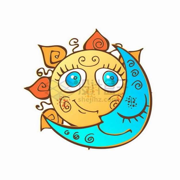 可爱黄色的卡通太阳和蓝色的月亮png图片素材