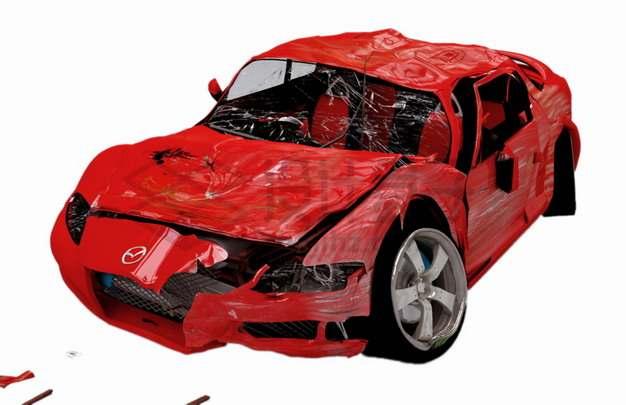车祸现场被撞坏的红色汽车7821762png图片素材