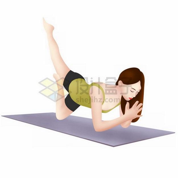 在瑜伽垫上练瑜伽的美女png免抠图片素材 人物素材-第1张
