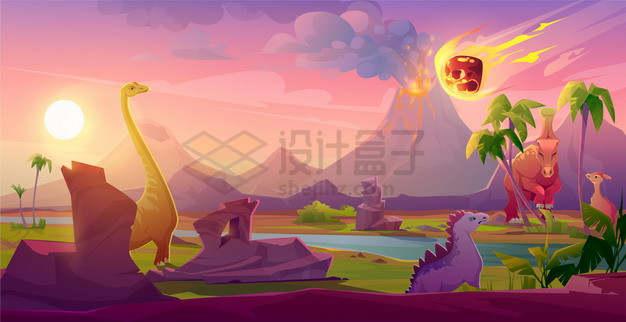 白垩纪恐龙大灭绝小行星撞击地球事件卡通插画png图片素材