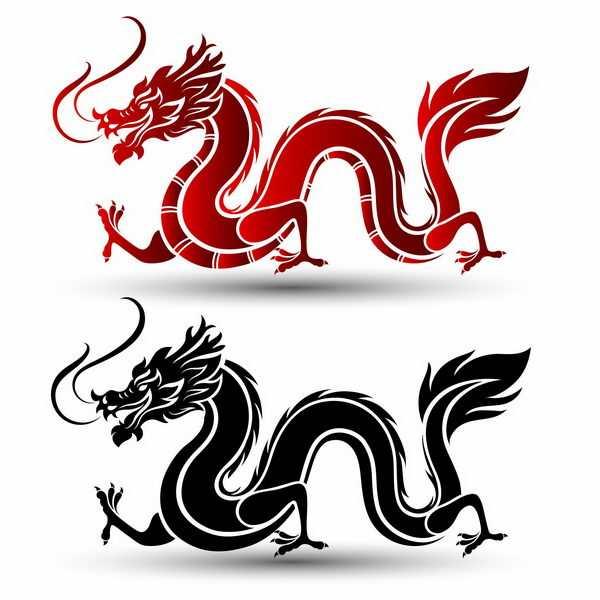 趴在地上的黑色和红色中国龙图案png图片免抠矢量素材
