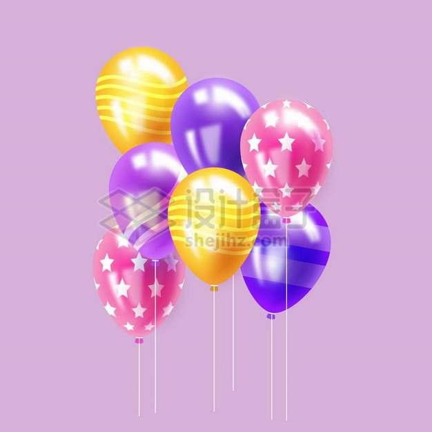 飘着的条纹斑点橙色粉色和紫色气球png图片免抠矢量素材